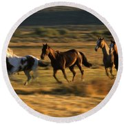 Wild Horses Running Together Round Beach Towel