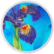 Wild Iris Art By Sharon Cummings Round Beach Towel