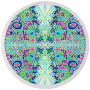 Wild Island Creation 1 Fractal B Round Beach Towel