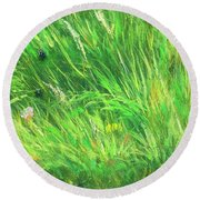 Wild Meadow Grass Structure In Bright Green Tones, Painting Detail. Round Beach Towel