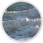 Wild Mediterranean Waves Round Beach Towel