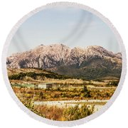 Wild Mountain Range Round Beach Towel
