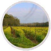 Wild Mustard Fields Round Beach Towel