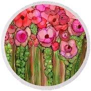 Wild Poppy Garden - Pink Round Beach Towel