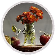 Wild Red Apples With Marigolds Round Beach Towel