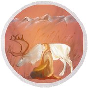 Wild Reindeer And Young Woman Becoming Friends - Poetic Painting Round Beach Towel