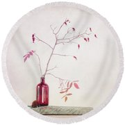 Wild Rosehips In A Bottle Round Beach Towel