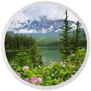 Wild Roses And Mountain Lake In Jasper National Park Round Beach Towel