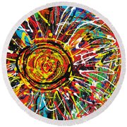Wild Sunflowers 3 Round Beach Towel