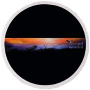 Wild Sunset Round Beach Towel
