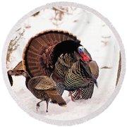 Wild Turkey Parade Print Round Beach Towel