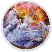 Wild Unicorns Round Beach Towel