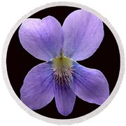 Wild Violet On Black Round Beach Towel