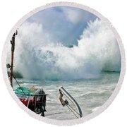 Wild Waves In Cornwall Round Beach Towel