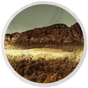 Wild West Mountain Panorama Round Beach Towel