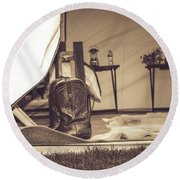 Wild West Wears Round Beach Towel