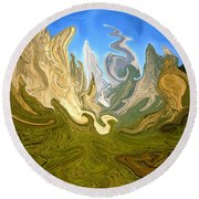 Wild Yosemite - Abstract Modern Art Round Beach Towel