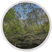 Wildcat Den Cliffs And Trees In Fall Round Beach Towel