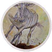 Wildebeest Round Beach Towel