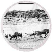 Wildebeest On The Move Round Beach Towel
