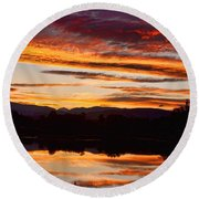 Wildfire Sunset 1v  Round Beach Towel