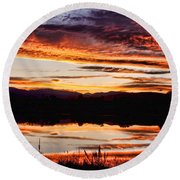 Wildfire Sunset Reflection Image 28 Round Beach Towel