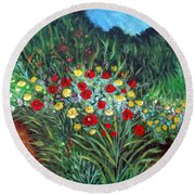 Wildflower Garden 1 Round Beach Towel