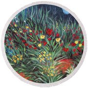 Wildflower Garden 2 Round Beach Towel