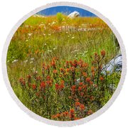 Wildflower Meadow With Indian Paintbrush Round Beach Towel