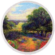 Wildflower Meadows Of Color And Joy Round Beach Towel