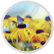 Wildflower Visitor Round Beach Towel