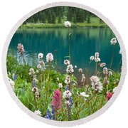Wildflowers Along The Lake Round Beach Towel