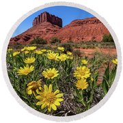 Wildflowers And Butte Round Beach Towel