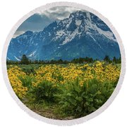 Wildflowers And Mount Moran Round Beach Towel