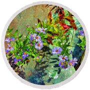 Wildflowers And Rocks Round Beach Towel