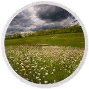Wildflowers And Storm Clouds Round Beach Towel