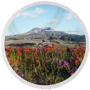 Wildflowers At Mount St Helens Round Beach Towel