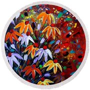 Wildflowers At Sunset Round Beach Towel