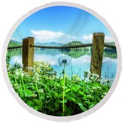Wildflowers At The Lake In Spring Round Beach Towel