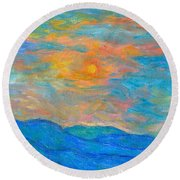 Wildflowers By A Blue Ridge Sunset Round Beach Towel