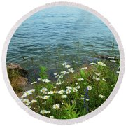 Wildflowers By The Lake  Round Beach Towel