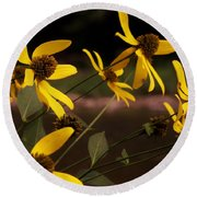 Wildflowers Creekside Round Beach Towel