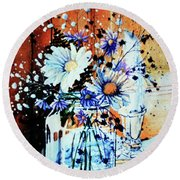 Wildflowers In A Mason Jar Round Beach Towel