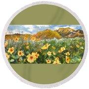 Wildflowers In The Desert Round Beach Towel