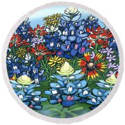 Wildflowers Round Beach Towel