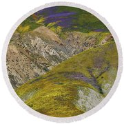 Wildflowers Up The Hills Of Temblor Range At Carrizo Plain National Monument Round Beach Towel