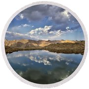 Wildhorse Lake Reflections Round Beach Towel