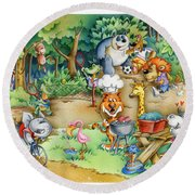Wildlife Party Round Beach Towel