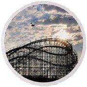 Wildwood Roller Coaster Round Beach Towel