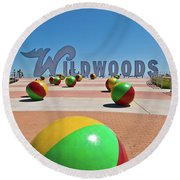 Wildwood's Sign, Wildwood, Nj Boardwalk . Copyright Aladdin Color Inc. Round Beach Towel